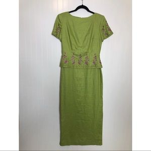 Y2K Mother of the Bride Green Linen Dress Size 4